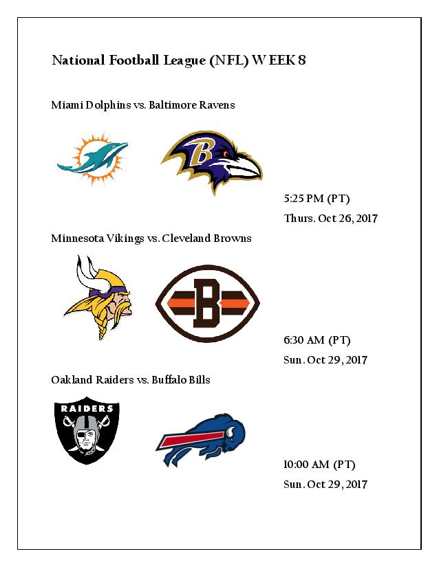 National Football League Scores & Schedule 8 Weeks ...