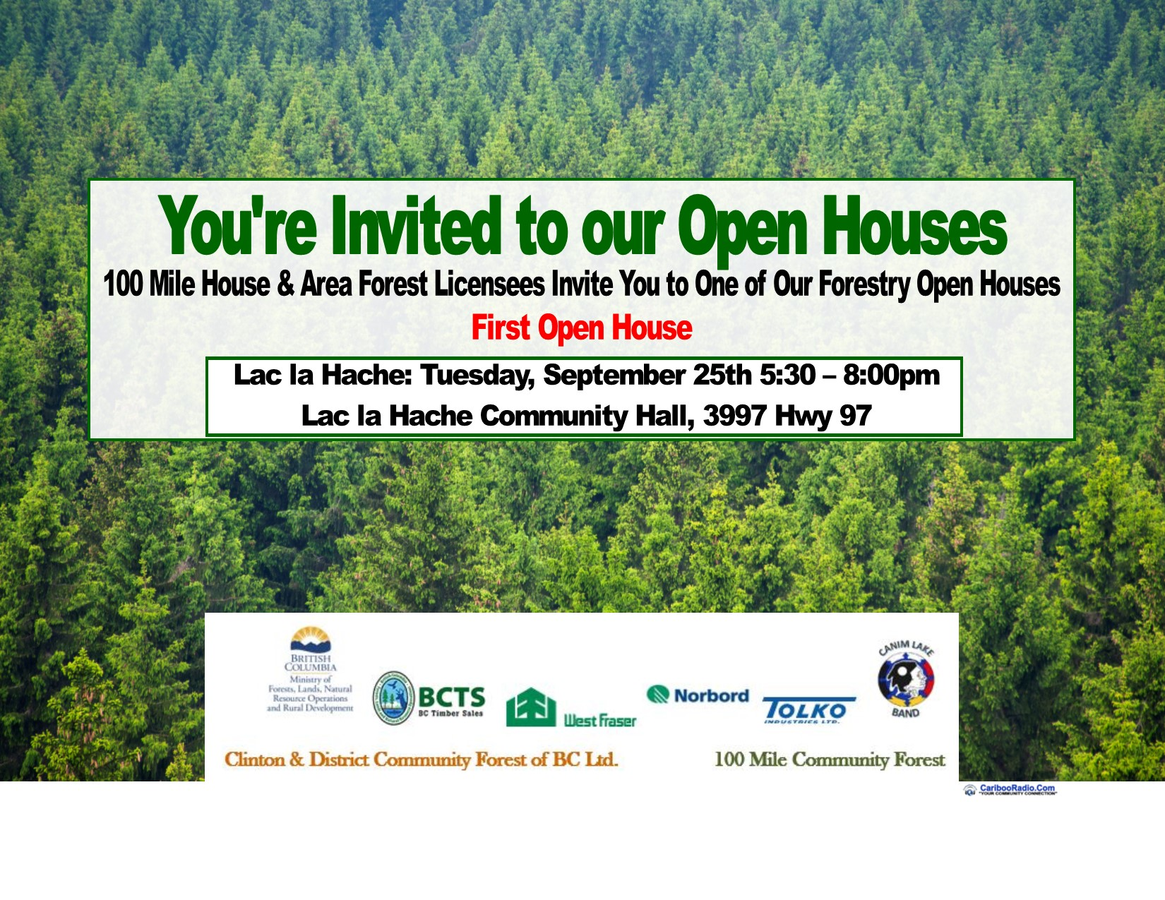 5 forestry Open Houses Coming to 100 Mile House and Area in