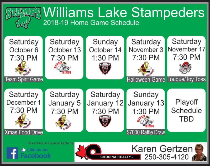 Williams Lake Stampeders Season Opener this Saturday October 6th 7:30pm