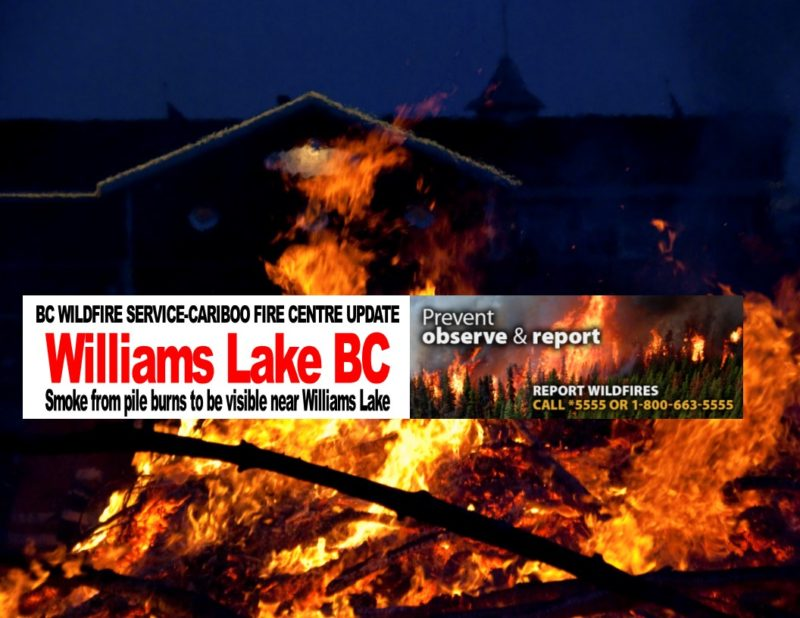 Smoke from pile burns to be visible near Williams Lake