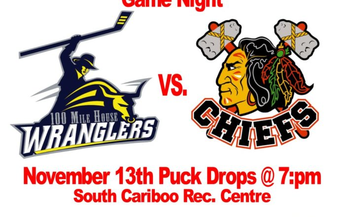 100 Mile House Wranglers vs the Kelowna Chiefs at the south Cariboo Rec Centre November 13th 2018