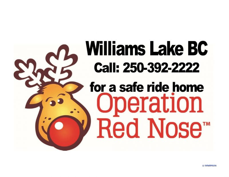 Operation Red Nose available starting November 30th 2018 in Williams Lake BC