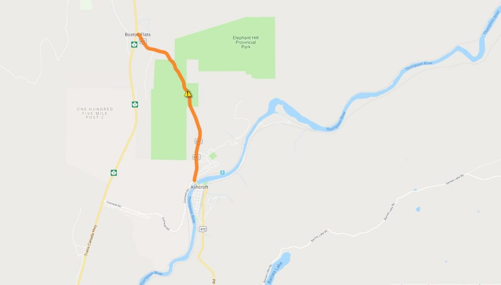 Drive BC has issued a travel advisory for parts of Hwys 97 - 97C and on