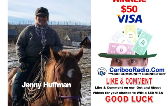 Jenny Huffman winner of the $50 Big Bucks for sharing the out and about videos